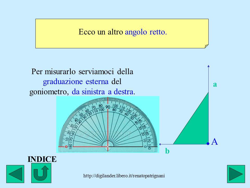 http://digilander.libero.it/renatopatrignani Ecco un altro angolo retto..A.A a b Per misurarlo serviamoci della graduazione esterna del goniometro, da sinistra a destra.