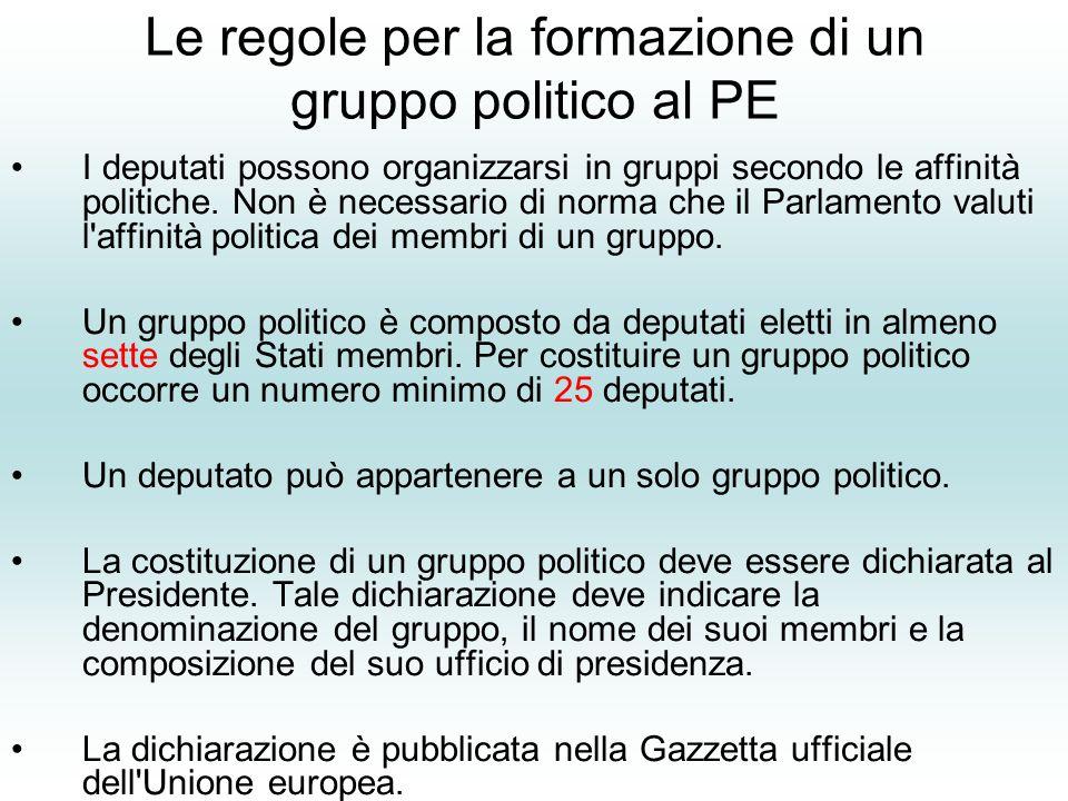 Le regole per la formazione di un gruppo politico al PE I deputati possono organizzarsi in gruppi secondo le affinità politiche.