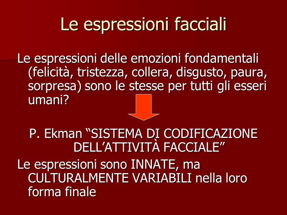Le espressioni facciali Le espressioni delle emozioni fondamentali (felicità, tristezza, collera, disgusto, paura, sorpresa) sono le stesse per tutti gli esseri umani.