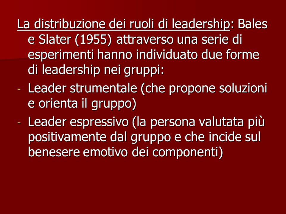 La distribuzione dei ruoli di leadership: Bales e Slater (1955) attraverso una serie di esperimenti hanno individuato due forme di leadership nei gruppi: - Leader strumentale (che propone soluzioni e orienta il gruppo) - Leader espressivo (la persona valutata più positivamente dal gruppo e che incide sul benesere emotivo dei componenti)