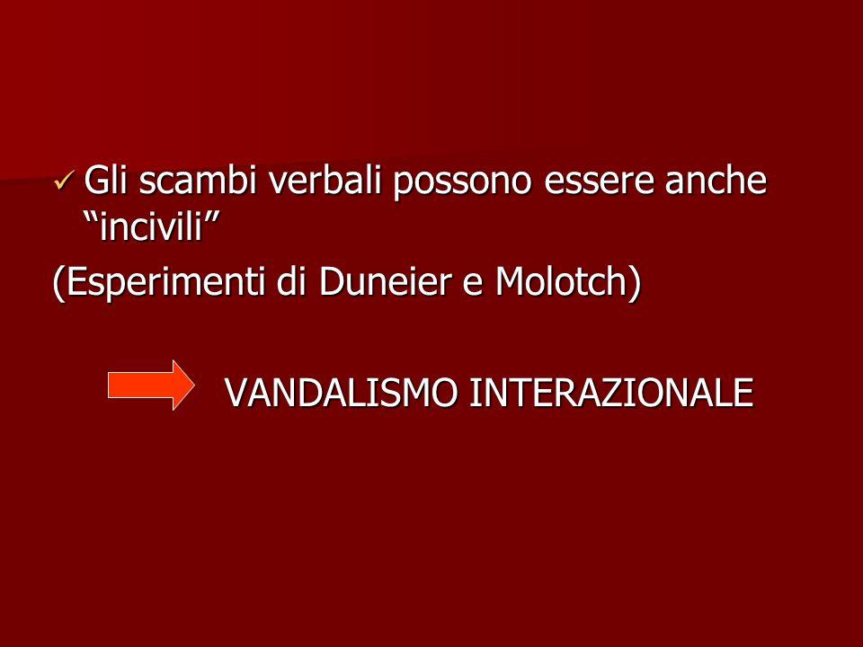 Gli scambi verbali possono essere anche incivili Gli scambi verbali possono essere anche incivili (Esperimenti di Duneier e Molotch) VANDALISMO INTERAZIONALE