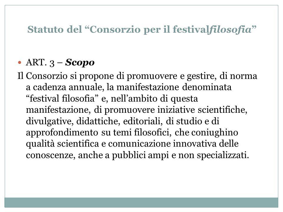 Statuto del Consorzio per il festivalfilosofia ART.