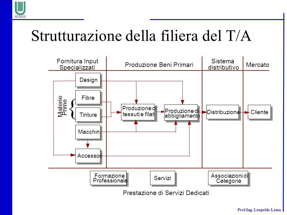Prof.Ing.Leopoldo Lama Strutturazione della filiera del T/A Design Fibre Tinture Macchin.