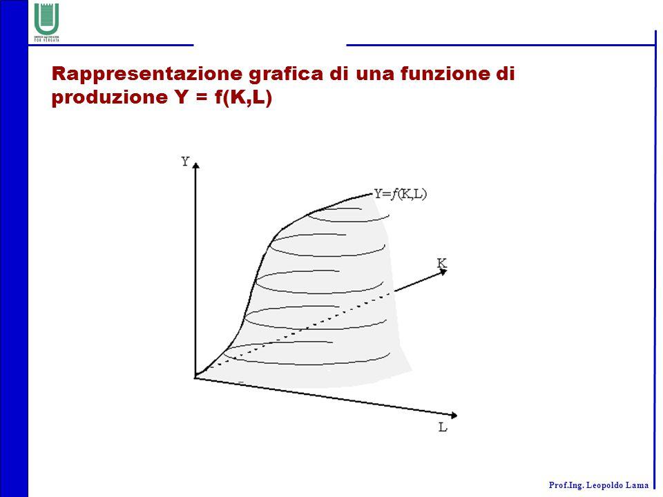 Prof.Ing. Leopoldo Lama Rappresentazione grafica di una funzione di produzione Y = f(K,L)