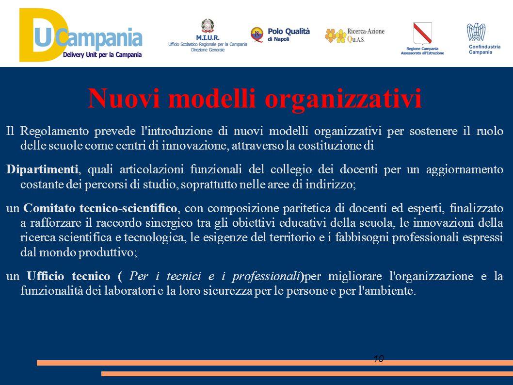 10 Nuovi modelli organizzativi Il Regolamento prevede l'introduzione di nuovi modelli organizzativi per sostenere il ruolo delle scuole come centri di
