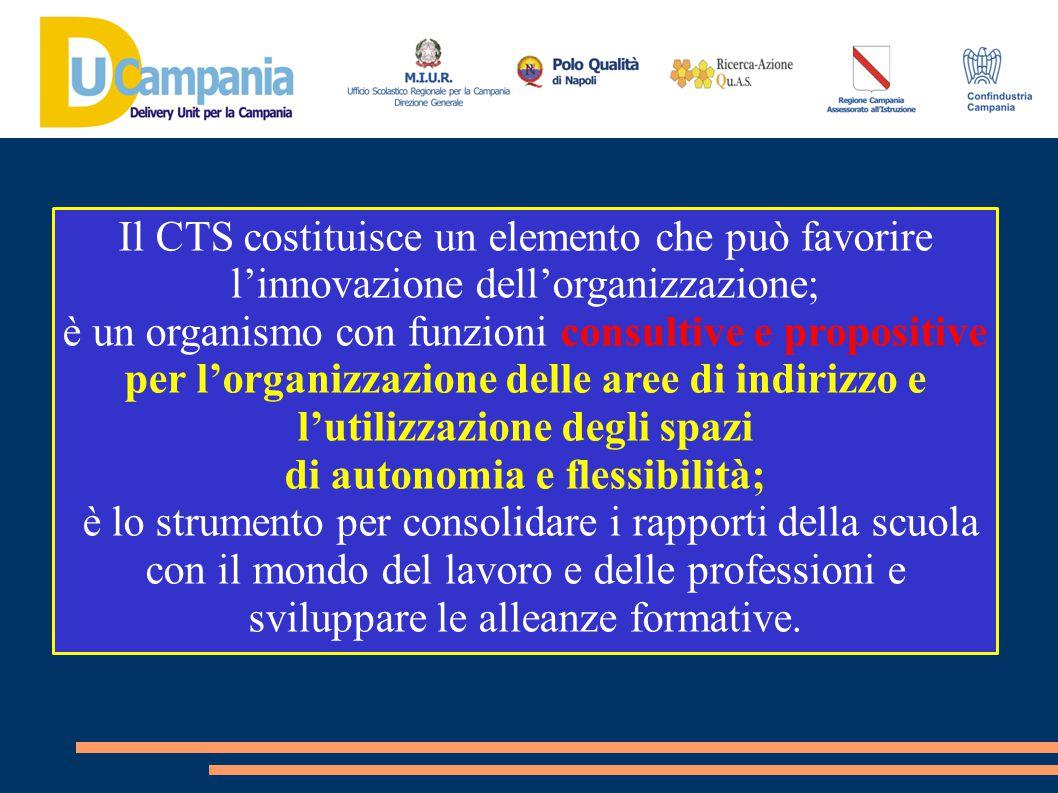 Il CTS costituisce un elemento che può favorire l'innovazione dell'organizzazione; è un organismo con funzioni consultive e propositive per l'organizz