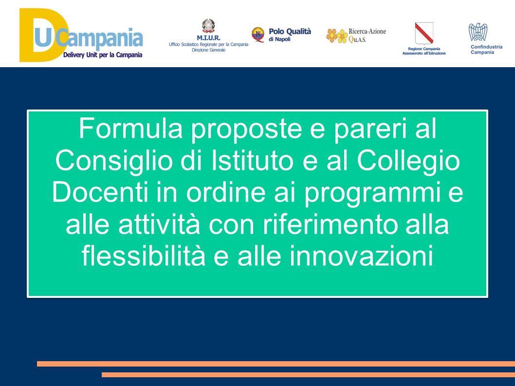 Formula proposte e pareri al Consiglio di Istituto e al Collegio Docenti in ordine ai programmi e alle attività con riferimento alla flessibilità e al