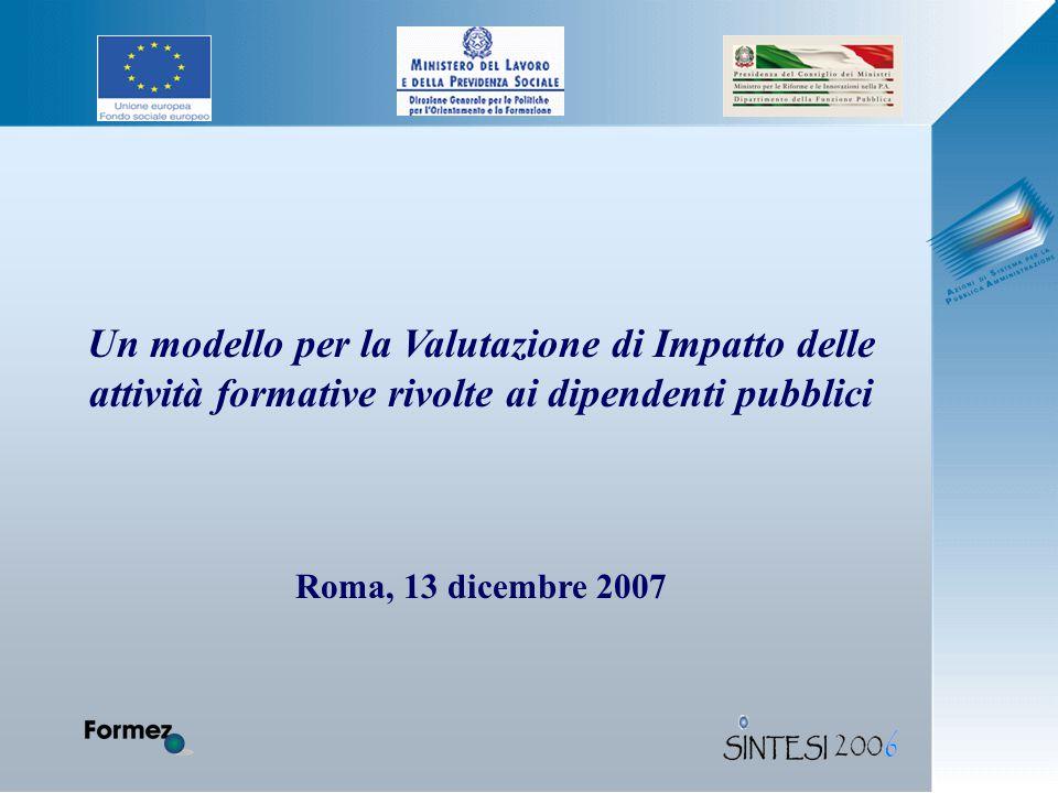 Un modello per la Valutazione di Impatto delle attività formative rivolte ai dipendenti pubblici Roma, 13 dicembre 2007