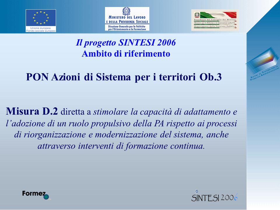 Il progetto SINTESI 2006 Ambito di riferimento Misura D.2 diretta a stimolare la capacità di adattamento e l'adozione di un ruolo propulsivo della PA rispetto ai processi di riorganizzazione e modernizzazione del sistema, anche attraverso interventi di formazione continua.