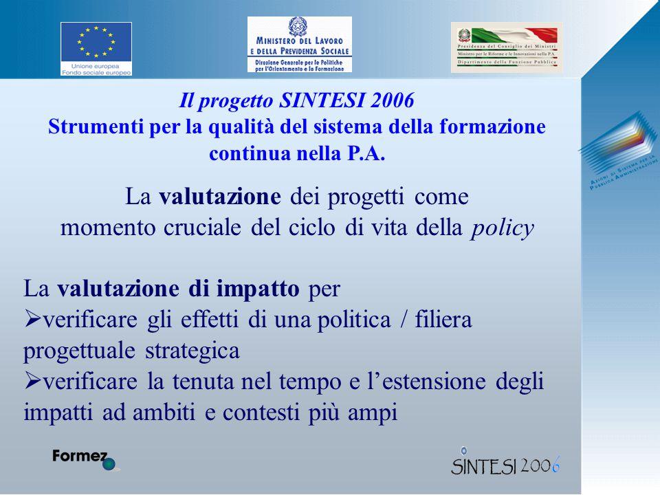 Il progetto SINTESI 2006 Strumenti per la qualità del sistema della formazione continua nella P.A.