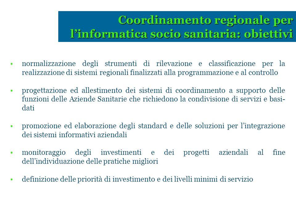 normalizzazione degli strumenti di rilevazione e classificazione per la realizzazione di sistemi regionali finalizzati alla programmazione e al contro