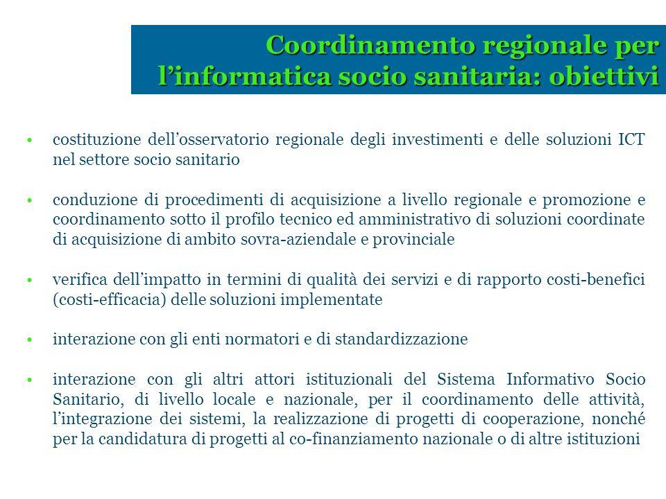 costituzione dell'osservatorio regionale degli investimenti e delle soluzioni ICT nel settore socio sanitario conduzione di procedimenti di acquisizio