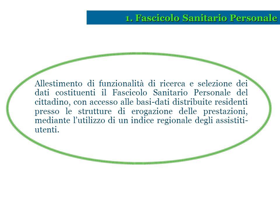 Allestimento di funzionalità di ricerca e selezione dei dati costituenti il Fascicolo Sanitario Personale del cittadino, con accesso alle basi-dati di
