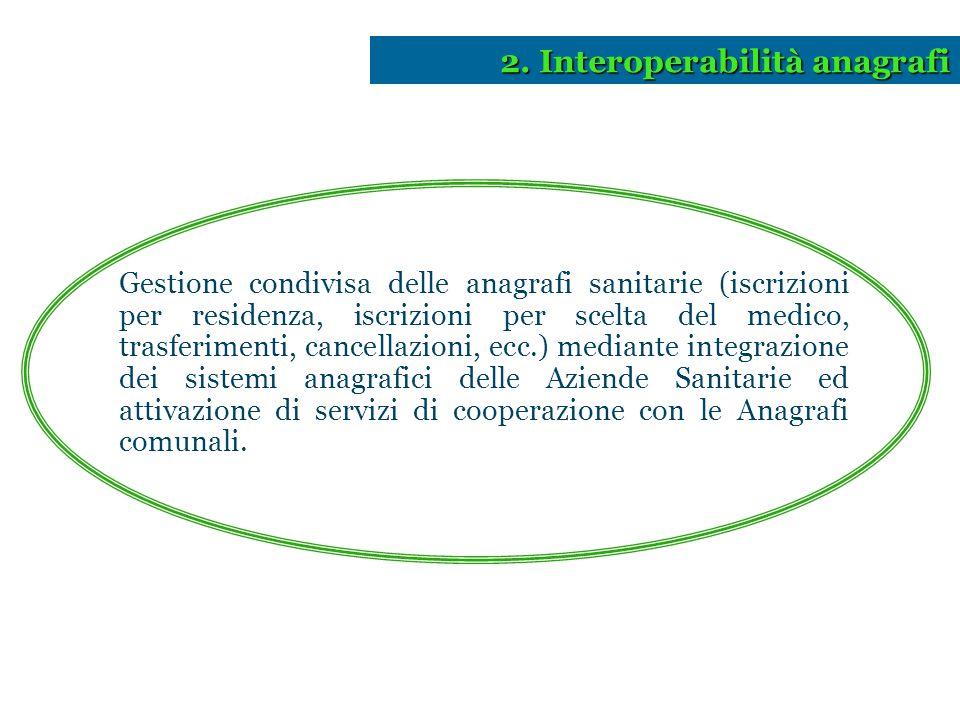 2. Interoperabilità anagrafi Gestione condivisa delle anagrafi sanitarie (iscrizioni per residenza, iscrizioni per scelta del medico, trasferimenti, c