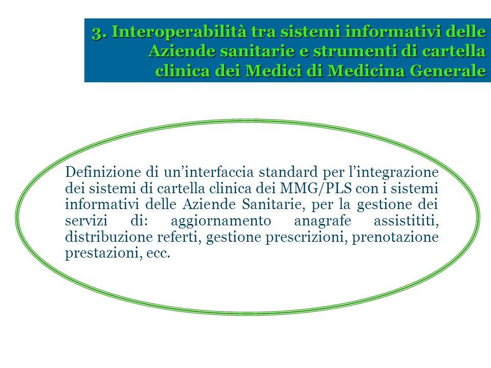 3. Interoperabilità tra sistemi informativi delle Aziende sanitarie e strumenti di cartella clinica dei Medici di Medicina Generale Definizione di un'