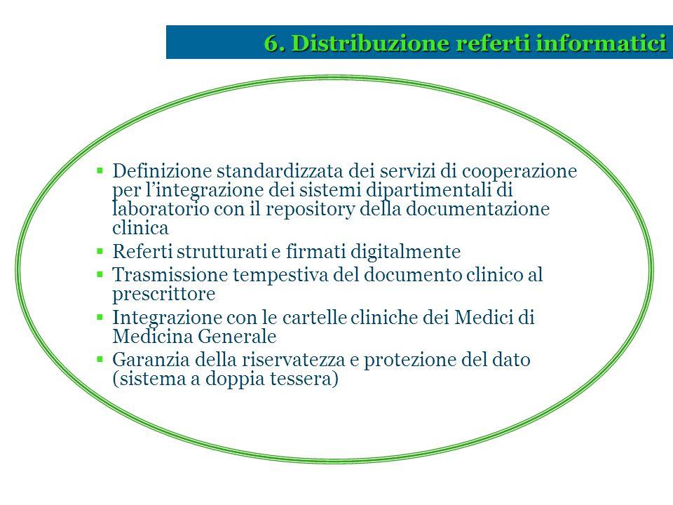 6. Distribuzione referti informatici  Definizione standardizzata dei servizi di cooperazione per l'integrazione dei sistemi dipartimentali di laborat