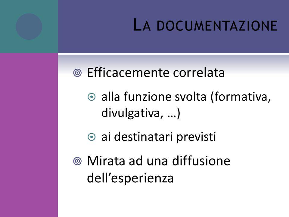 L A DOCUMENTAZIONE  Efficacemente correlata  alla funzione svolta (formativa, divulgativa, …)  ai destinatari previsti  Mirata ad una diffusione dell'esperienza