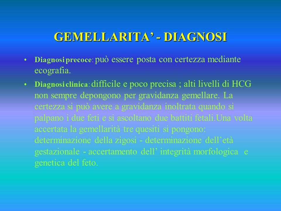 GEMELLARITA' - DIAGNOSI Diagnosi precoce: può essere posta con certezza mediante ecografia.
