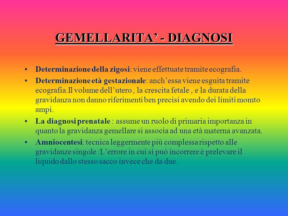 GEMELLARITA' - DIAGNOSI Diagnosi precoce: può essere posta con certezza mediante ecografia. Diagnosi clinica: difficile e poco precisa ; alti livelli