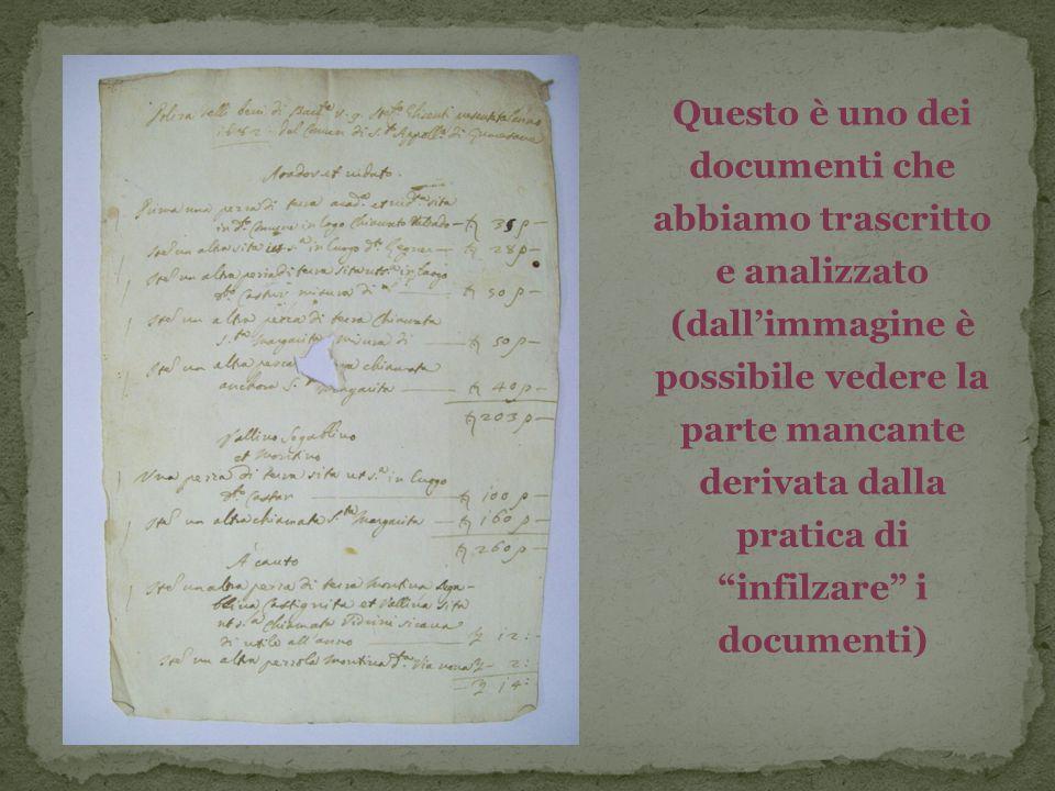 """Questo è uno dei documenti che abbiamo trascritto e analizzato (dall'immagine è possibile vedere la parte mancante derivata dalla pratica di """"infilzar"""