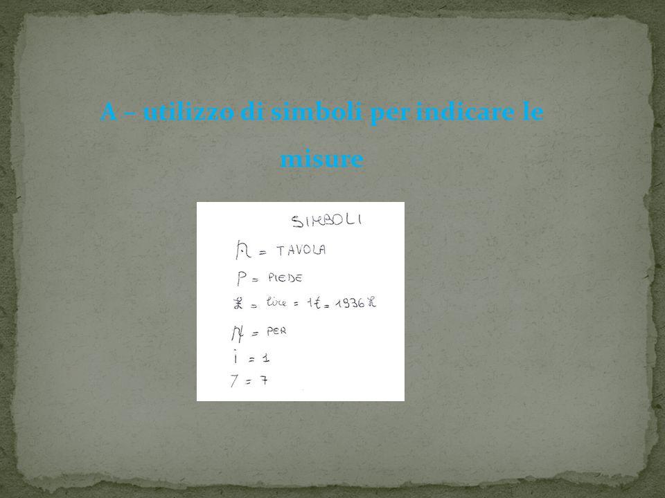 A – utilizzo di simboli per indicare le misure