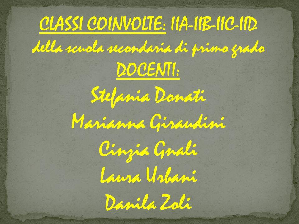 CLASSI COINVOLTE: IIA-IIB-IIC-IID della scuola secondaria di primo grado DOCENTI: Stefania Donati Marianna Giraudini Cinzia Gnali Laura Urbani Danila