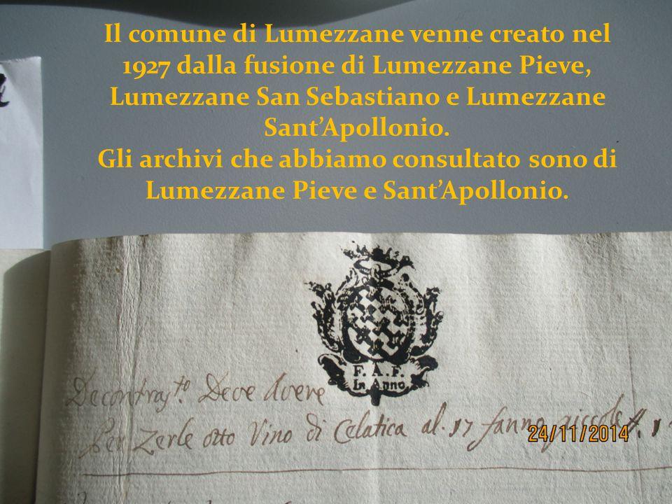 Il comune di Lumezzane venne creato nel 1927 dalla fusione di Lumezzane Pieve, Lumezzane San Sebastiano e Lumezzane Sant'Apollonio. Gli archivi che ab