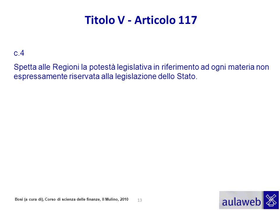 Bosi (a cura di), Corso di scienza delle finanze, Il Mulino, 2010 Titolo V - Articolo 117 c.4 Spetta alle Regioni la potestà legislativa in riferiment