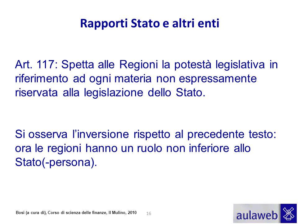 Bosi (a cura di), Corso di scienza delle finanze, Il Mulino, 2010 Art. 117: Spetta alle Regioni la potestà legislativa in riferimento ad ogni materia