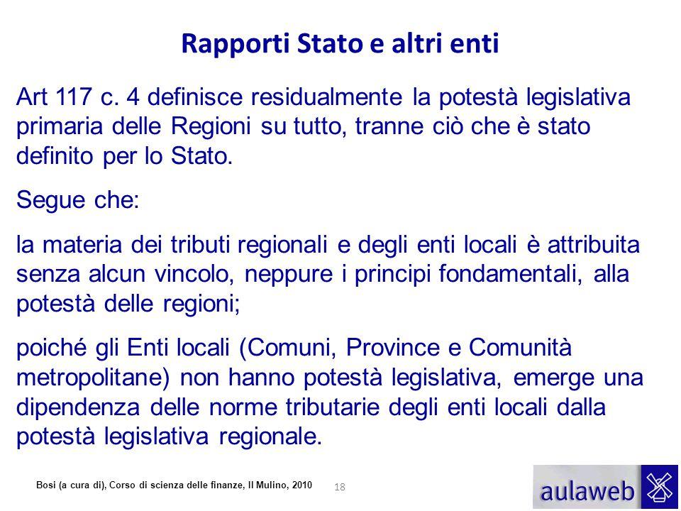 Bosi (a cura di), Corso di scienza delle finanze, Il Mulino, 2010 Art 117 c. 4 definisce residualmente la potestà legislativa primaria delle Regioni s