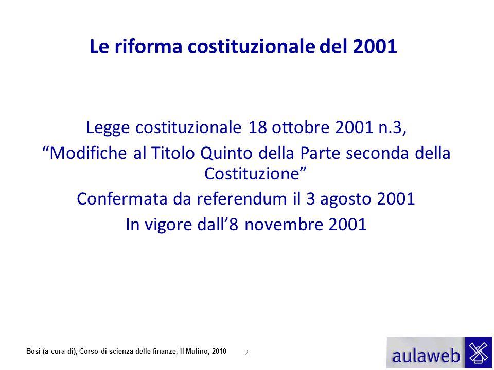 """Bosi (a cura di), Corso di scienza delle finanze, Il Mulino, 2010 Le riforma costituzionale del 2001 Legge costituzionale 18 ottobre 2001 n.3, """"Modifi"""