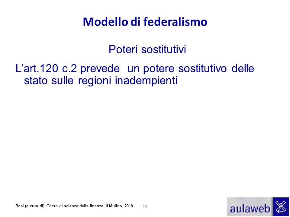 Bosi (a cura di), Corso di scienza delle finanze, Il Mulino, 2010 Modello di federalismo Poteri sostitutivi L'art.120 c.2 prevede un potere sostitutiv