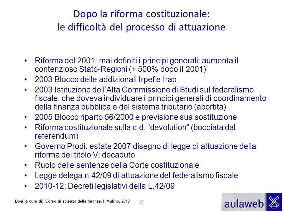 Bosi (a cura di), Corso di scienza delle finanze, Il Mulino, 2010 Dopo la riforma costituzionale: le difficoltà del processo di attuazione Riforma del