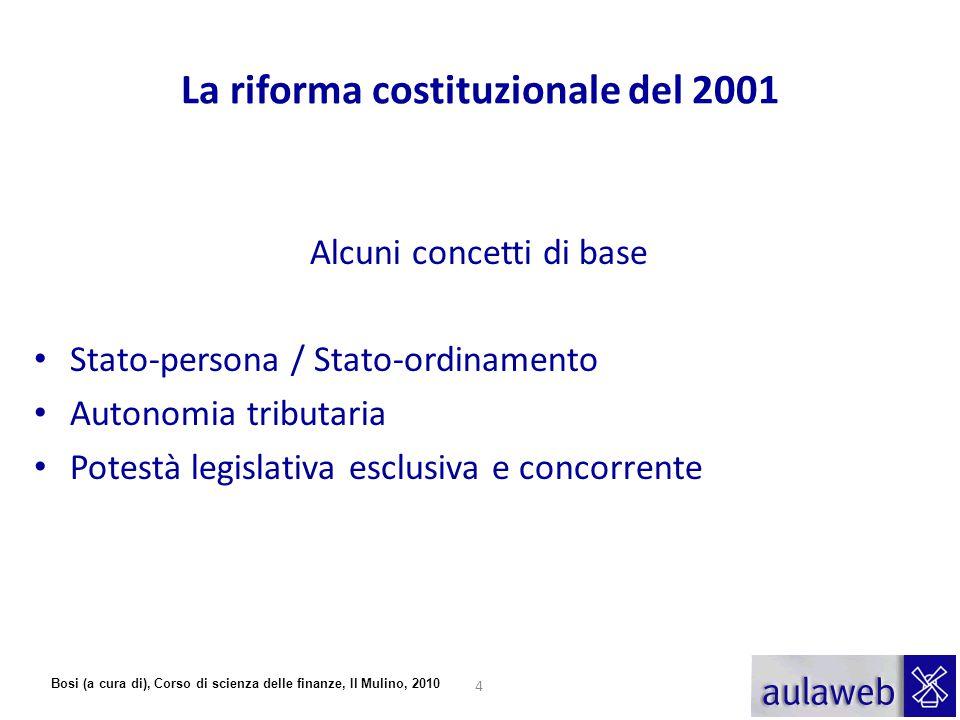 Bosi (a cura di), Corso di scienza delle finanze, Il Mulino, 2010 La riforma costituzionale del 2001 Alcuni concetti di base Stato-persona / Stato-ord