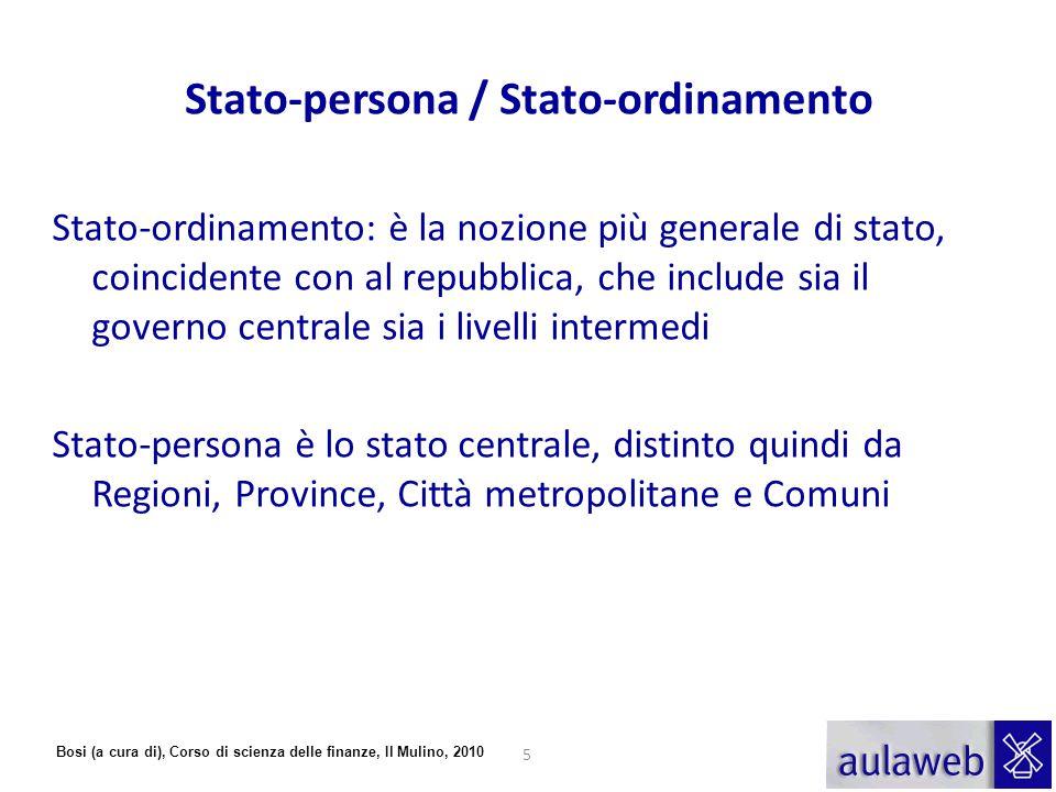 Bosi (a cura di), Corso di scienza delle finanze, Il Mulino, 2010 Stato-persona / Stato-ordinamento Stato-ordinamento: è la nozione più generale di st