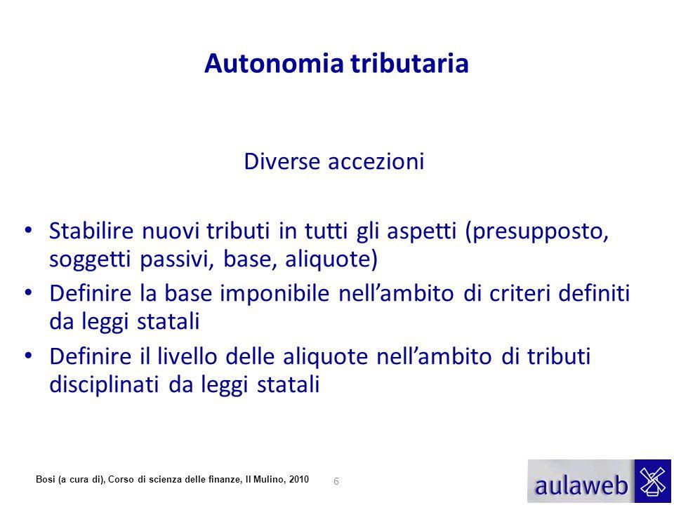 Bosi (a cura di), Corso di scienza delle finanze, Il Mulino, 2010 Autonomia tributaria Diverse accezioni Stabilire nuovi tributi in tutti gli aspetti