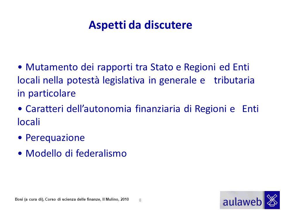 Bosi (a cura di), Corso di scienza delle finanze, Il Mulino, 2010 Aspetti da discutere Mutamento dei rapporti tra Stato e Regioni ed Enti locali nella