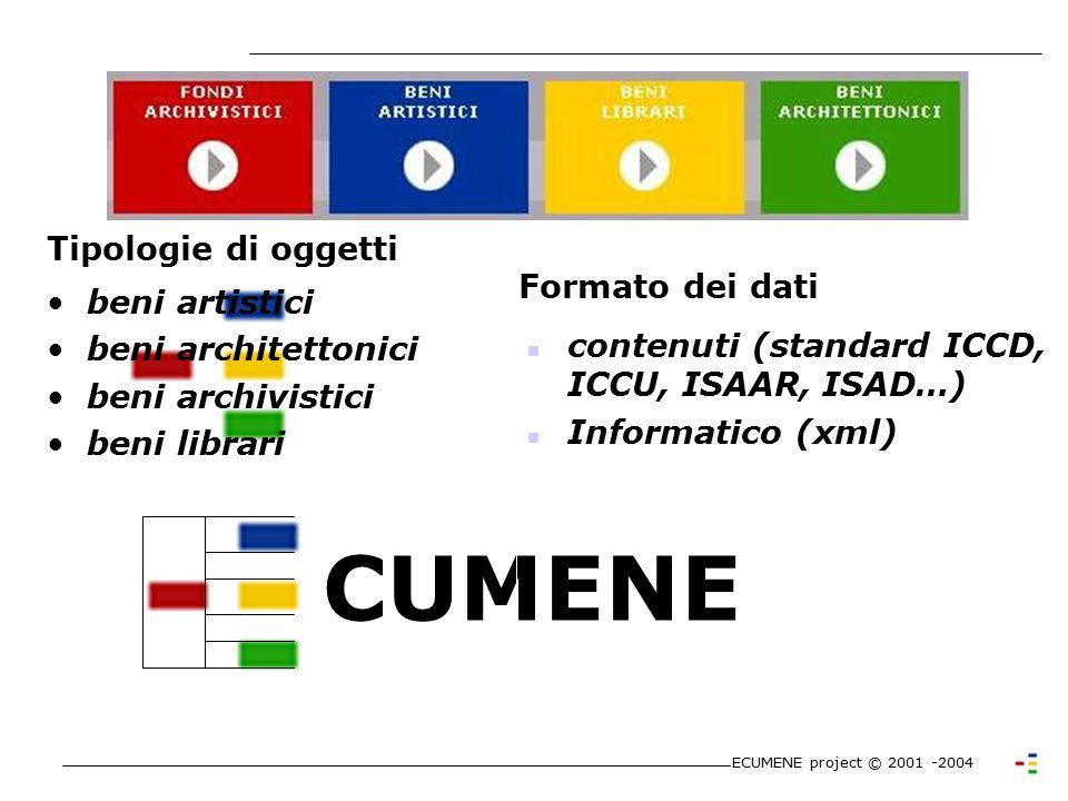 Il portale dei beni culturali ecclesiastici ECUMENE project © 2001 -2004 - Profilazione Utenti - Accessibilità - Community (Forum, Chat, News,..) - Co