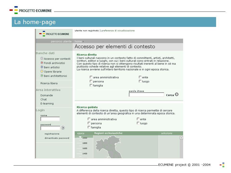 La ricerca ECUMENE project © 2001 -2004