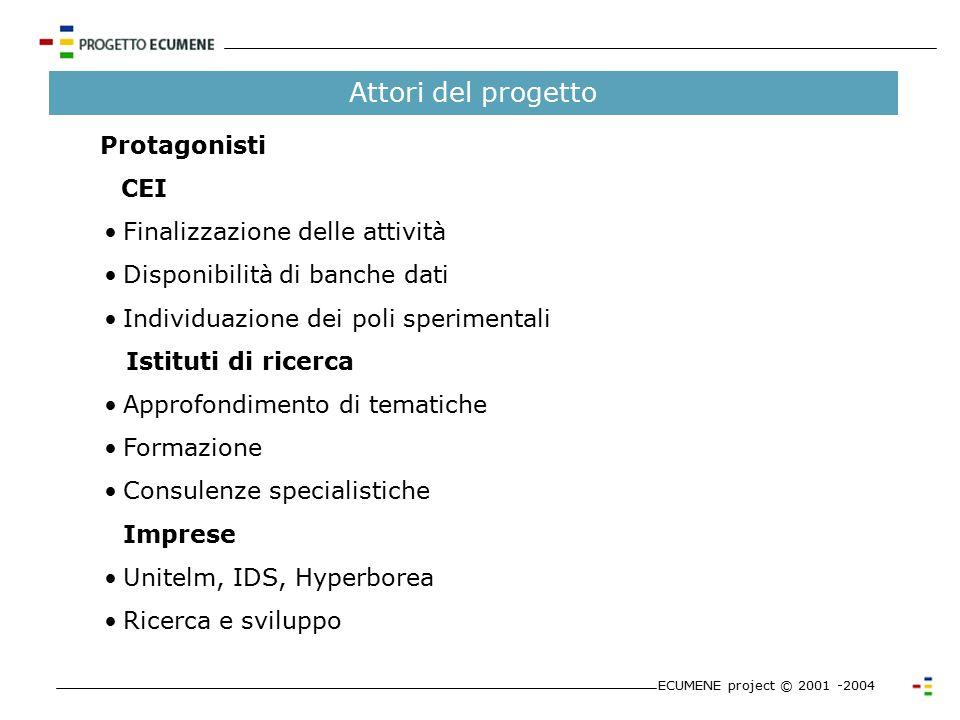 Obiettivi e ambito ECUMENE project © 2001 -2004 Obiettivi del Progetto Consentire la fruizione integrata dei beni culturali di natura diversa Ambito i