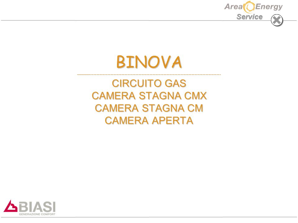 Service BINOVA -------------------------------------------------------------------------------------------------------- CIRCUITO GAS CAMERA STAGNA CMX CAMERA STAGNA CM CAMERA APERTA