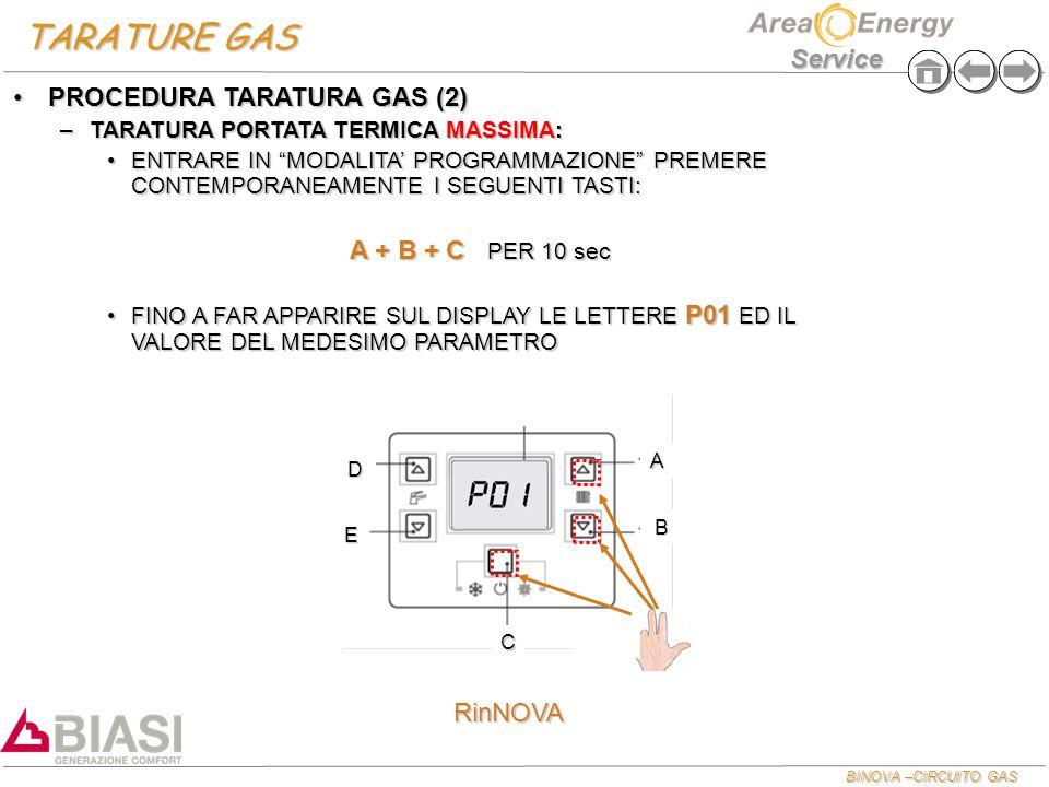 """BINOVA –CIRCUITO GAS Service TARATURE GAS PROCEDURA TARATURA GAS (2)PROCEDURA TARATURA GAS (2) –TARATURA PORTATA TERMICA MASSIMA: ENTRARE IN """"MODALITA"""