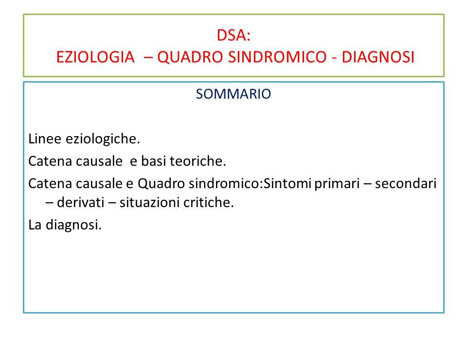 DSA: EZIOLOGIA – QUADRO SINDROMICO - DIAGNOSI SOMMARIO Linee eziologiche.