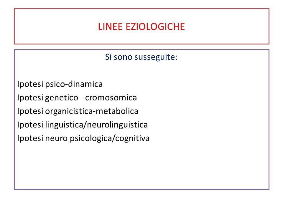 LINEE EZIOLOGICHE Si sono susseguite: Ipotesi psico-dinamica Ipotesi genetico - cromosomica Ipotesi organicistica-metabolica Ipotesi linguistica/neurolinguistica Ipotesi neuro psicologica/cognitiva