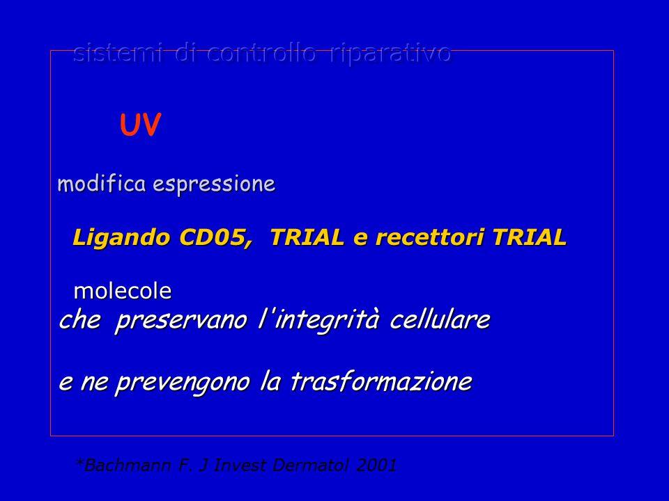 UV modifica espressione Ligando CD05, TRIAL e recettori TRIAL Ligando CD05, TRIAL e recettori TRIAL molecole molecole che preservano l integrità cellulare e ne prevengono la trasformazione *Bachmann F.