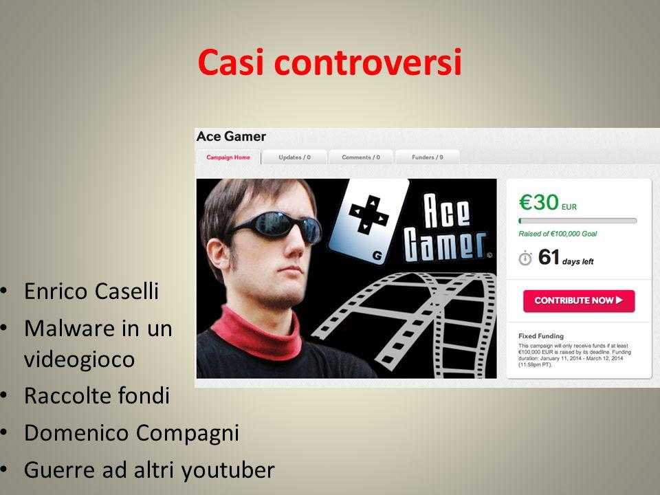 Casi controversi Enrico Caselli Malware in un videogioco Raccolte fondi Domenico Compagni Guerre ad altri youtuber