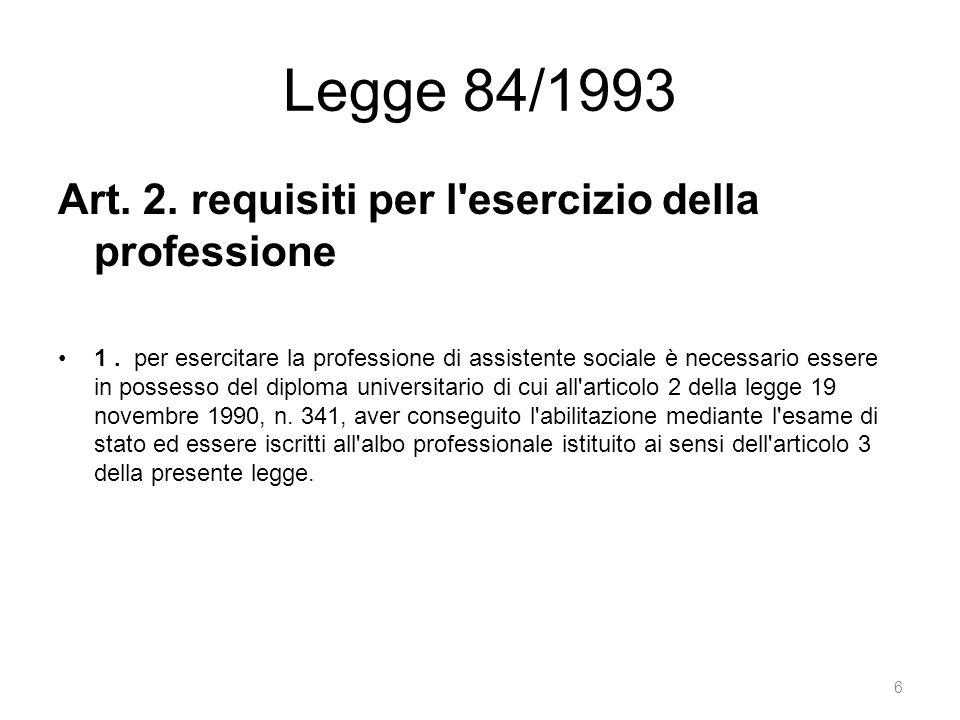 Legge 84/1993 Art. 2. requisiti per l esercizio della professione 1.