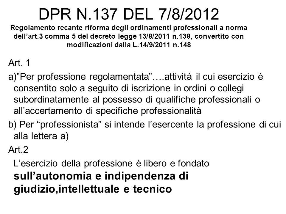 DPR N.137 DEL 7/8/2012 Regolamento recante riforma degli ordinamenti professionali a norma dell'art.3 comma 5 del decreto legge 13/8/2011 n.138, convertito con modificazioni dalla L.14/9/2011 n.148 Art.