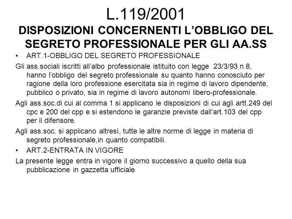 L.119/2001 DISPOSIZIONI CONCERNENTI L'OBBLIGO DEL SEGRETO PROFESSIONALE PER GLI AA.SS ART.1-OBBLIGO DEL SEGRETO PROFESSIONALE Gli ass.sociali iscritti all'albo professionale istituito con legge 23/3/93 n.8, hanno l'obbligo del segreto professionale su quanto hanno conosciuto per ragione della loro professione esercitata sia in regime di lavoro dipendente, pubblico o privato, sia in regime di lavoro autonomi libero-professionale.