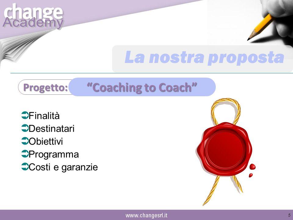 La nostra proposta  Finalità  Destinatari  Obiettivi  Programma  Costi e garanzie 5 Progetto: Coaching to Coach